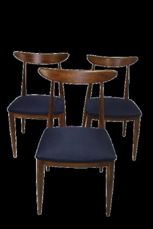 Set de 3 chaises en teck, scandinave année 1960 entièrement restaurées