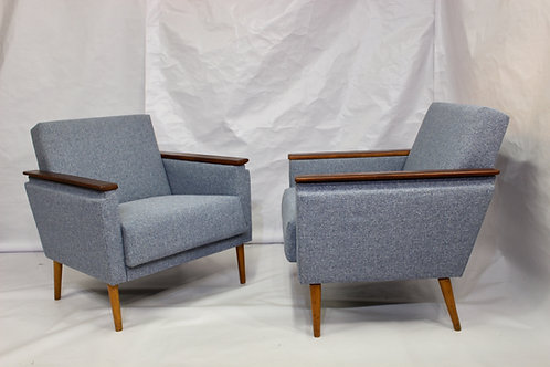 CUBA Paire de fauteuils cube tissu chiné bleu Allemagne 60 s