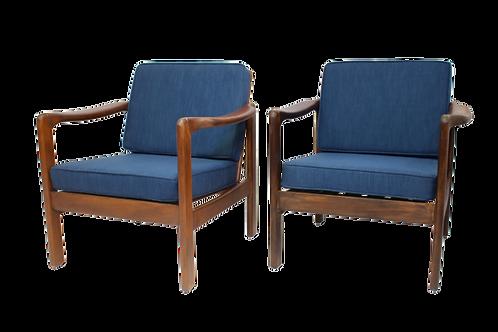 Paire de fauteuils style scandinave années 60 tissu bleu.Ref OSLO