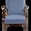 Thumbnail: Fauteuil scandinave 1960 tissu bleu foncé effet chevron retapissé. Ref/ PAM