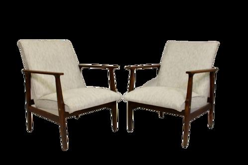 Paire de fauteuils scandinave années 50, tissu chiné. Ref: Nuage blanc