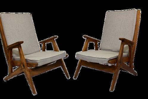 Paire de fauteuils scandinave 50 60 entièrement restaurée.