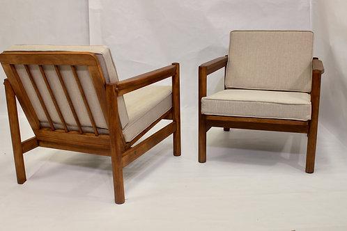Paire de fauteuils style scandinave années 60 tissu chiné façon lin REF THEO