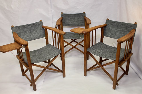 Set de 3 chaises de réalisateur pliantes marque Clairitex année 50 restaurées.
