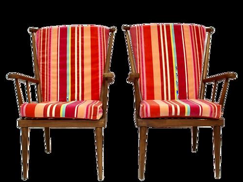Paire de fauteuils Baumann éventail  année 60 ref/ Arc en ciel