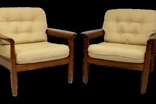 Paire de fauteuils scandinave en merisier année 50/60.Ref Matisse