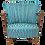 Thumbnail: Fauteuil vintage année 50 restauré , tissu brodé .Ref Totem