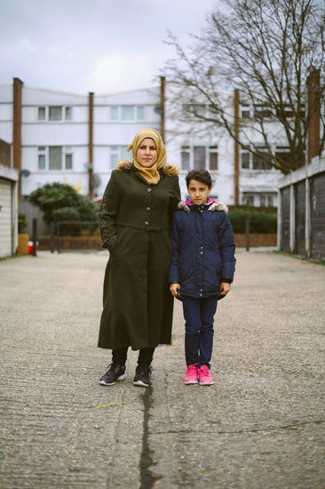 This is Majd Al Multaji and her daughter Ghazal. They have been in the UK for 4 years.