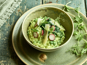 Green Pea Risotto with Buckwheat and Fresh Mint