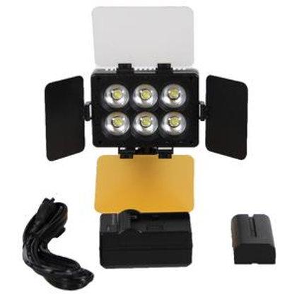 Iluminador Sun Gun de 6 LED T6D para Câmeras e Filmadoras