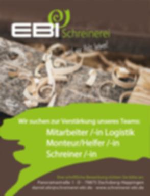 Wir suchen Mitabeiter/-in Logistik, Monteur/Helfer/-in, Schreiner/-in