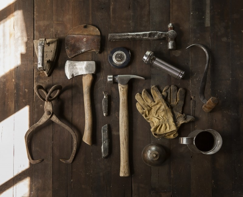 aerial-view-of-carpenters-tools-on-wooden-table