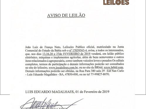 AVISO DE LEILÃO