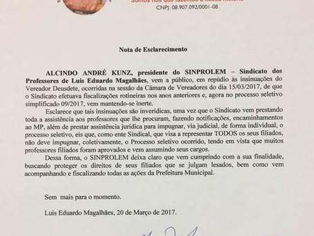 Sindicato de professores de LEM rebate críticas de vereador