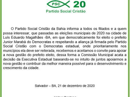 LEM: Em nota PSC informa ida para a base do prefeito Júnior Marabá