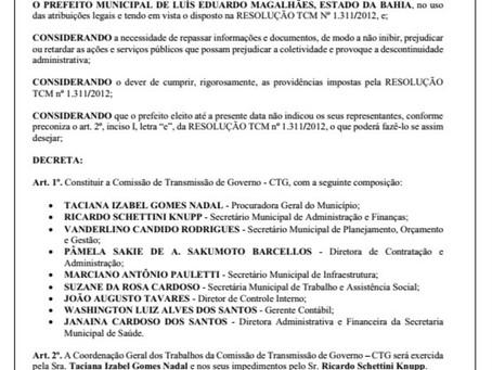 LEM: Prefeitura designa comissão de transição de governo