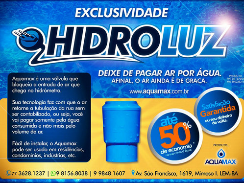 Exclusividade Hidroluz - Deixe de pagar ar por àgua
