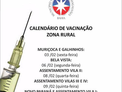Chegou a vez da zona rural receber a vacinação contra febre amarela