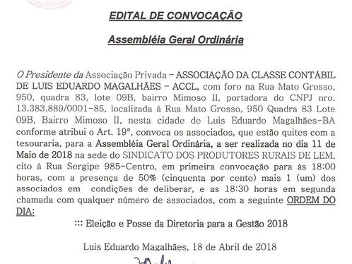 Edital de convocação -  Associação da Classe Contábil de LEM