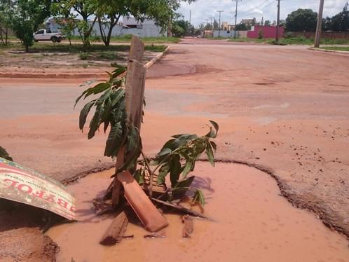 Moradores usam pedaços de pau para sinalizar buracos na Av. JK