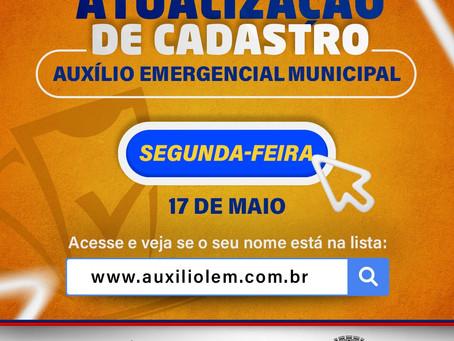 Atualização de cadastro - Auxílio Emergencial Municipal