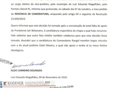 Vice de Rangel renuncia, acusa comandante de estar junto com Oziel e de não ter apoio de Bolsonaro
