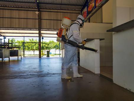 Feira do Mimoso 2 passa por desinfecção contra Covid-19