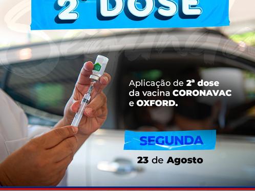 Vacinação para segunda dose será retomada nesta segunda-feira (23), em LEM