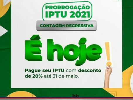 Hoje é o último dia para quitar o IPTU em cota única com desconto de 20%
