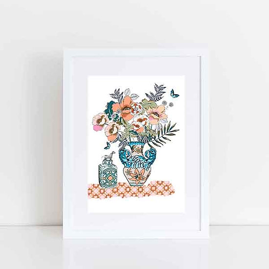 Pea & Me Vase with leopard A5 A4 or A3 Print (unframed)