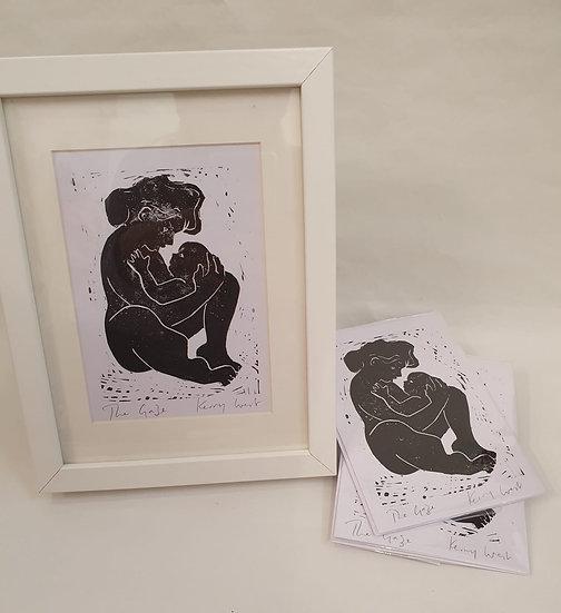 'The Gaze' unframed A6 Lino Cut Print