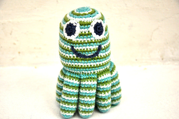 CROCHET COTTON OCTOPUS BABY RATTLE BLUE AND GREEN