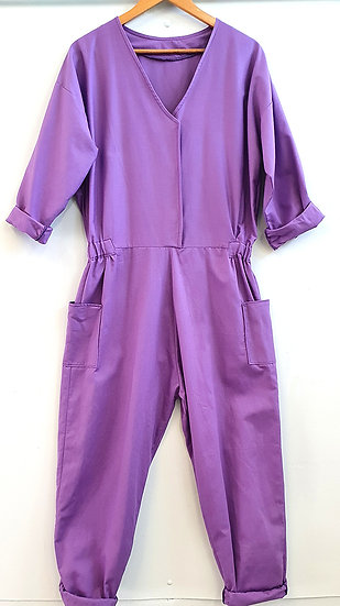 Women's Purple Cotton Drill Jumpsuit