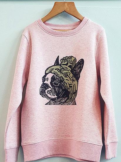 PRP Kids Sweatshirt Frenchie on Pink