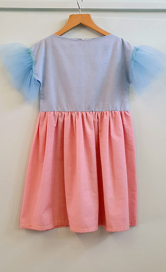 Child's Pink and Blue cotton and tulle dress