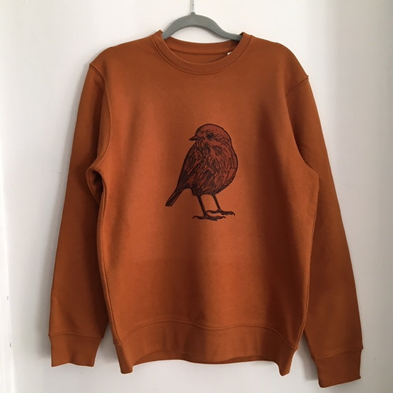 Punk Rock Penguin Adult Robin Sweatshirt Roasted Orange