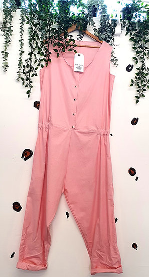 Women's Pink Cotton Jumpsuit