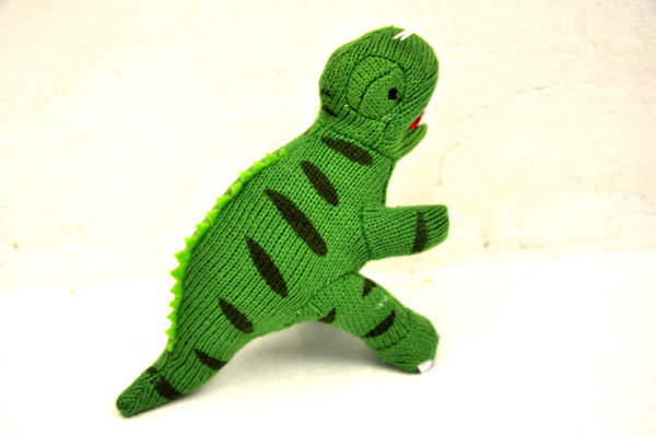 SMALL T REX KNITTED DINOSAUR RATTLE RATTLE