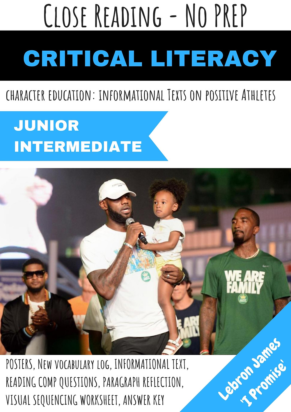 Lebron James NBA Basketball Close Reading Informational Text Teacher Resource Character Education I Promise School Miss Cats Classroom TpT teachers pay teachers