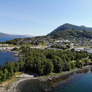 Dronebilde over området