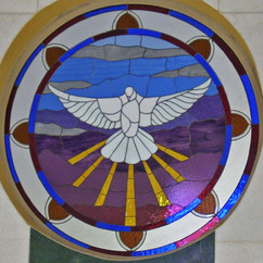 Dove of Mercy, stained glass circular window, St Patricks Church Bangalore