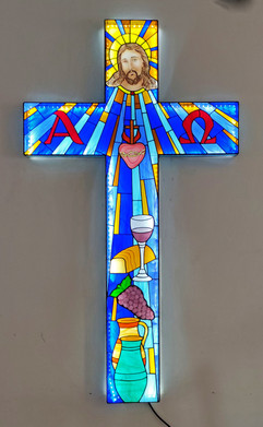 3D stained glass cross wall hanging