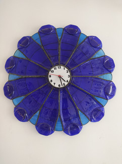 Upcycled Beer Bottle Clock Fused And Soldered Togther