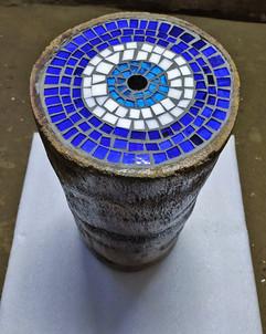 Upcyclesd Coconut Stool Tree Trunks With Glass Mosaic