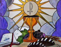 Chalise, Host, Bible, Bread, Grapes stained glass Wesley English Church