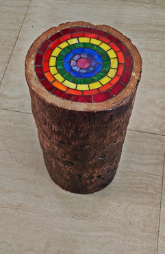 Upcycled Coconut Stool Tree Trunks with Glass Mosaic