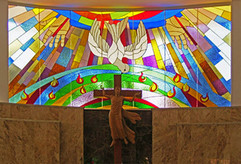 large curved stained glass window in St Anthony's Friary, Bangalore