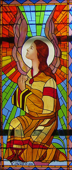 Angel stained glass window, St Marys Bascilica, Bangalore