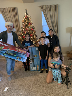 Delivering Isaac's (in white) wish on Christmas da