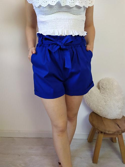 Short caramella in cotone blu